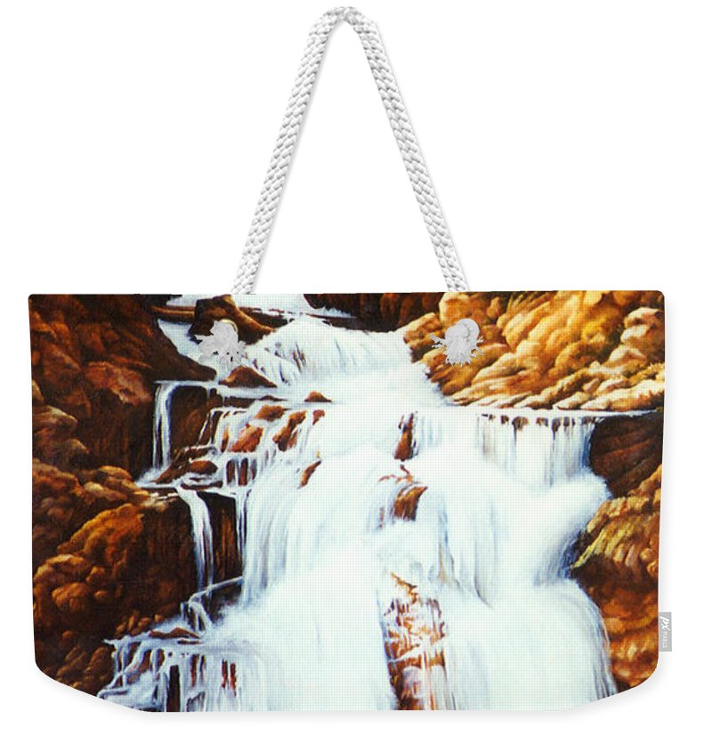 Waterfall Weekender Tote Bag featuring the painting Little Firehole Falls by Teri Rosario