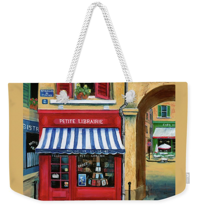 Europe Weekender Tote Bag featuring the painting Little French Book Store by Marilyn Dunlap