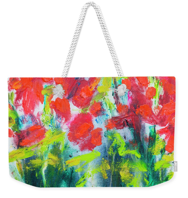 Abstract Weekender Tote Bag featuring the painting Little Garden 01 by Claire Desjardins