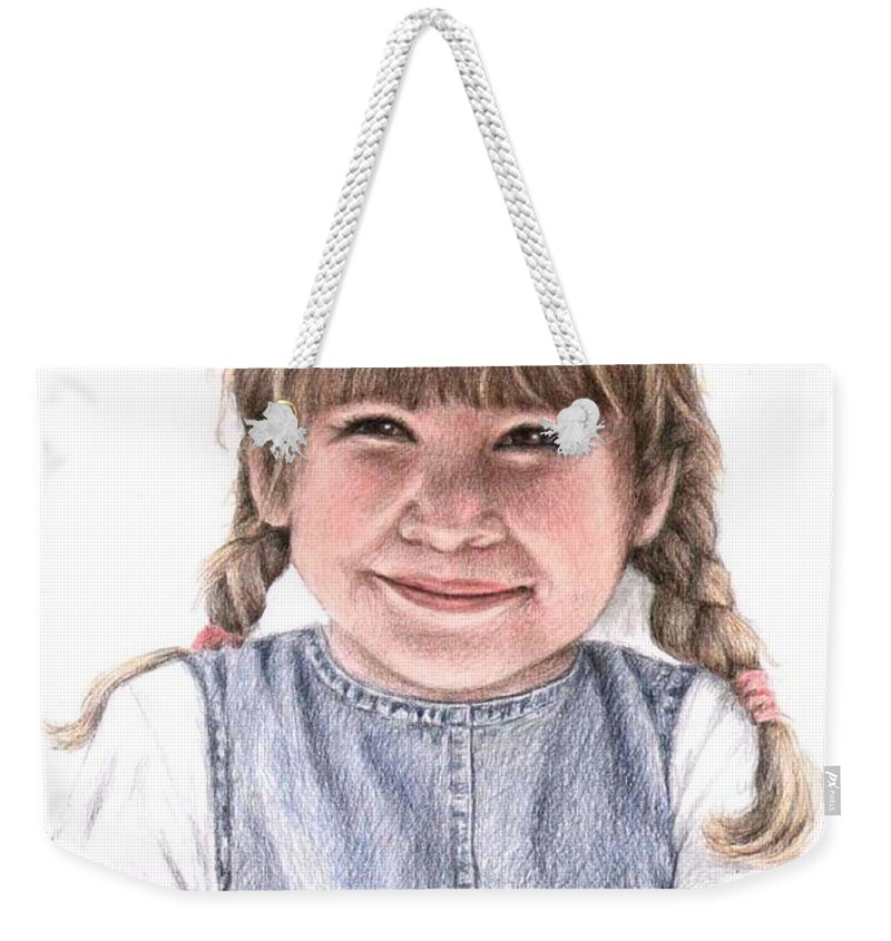 Girl Weekender Tote Bag featuring the drawing Little Girl by Nicole Zeug