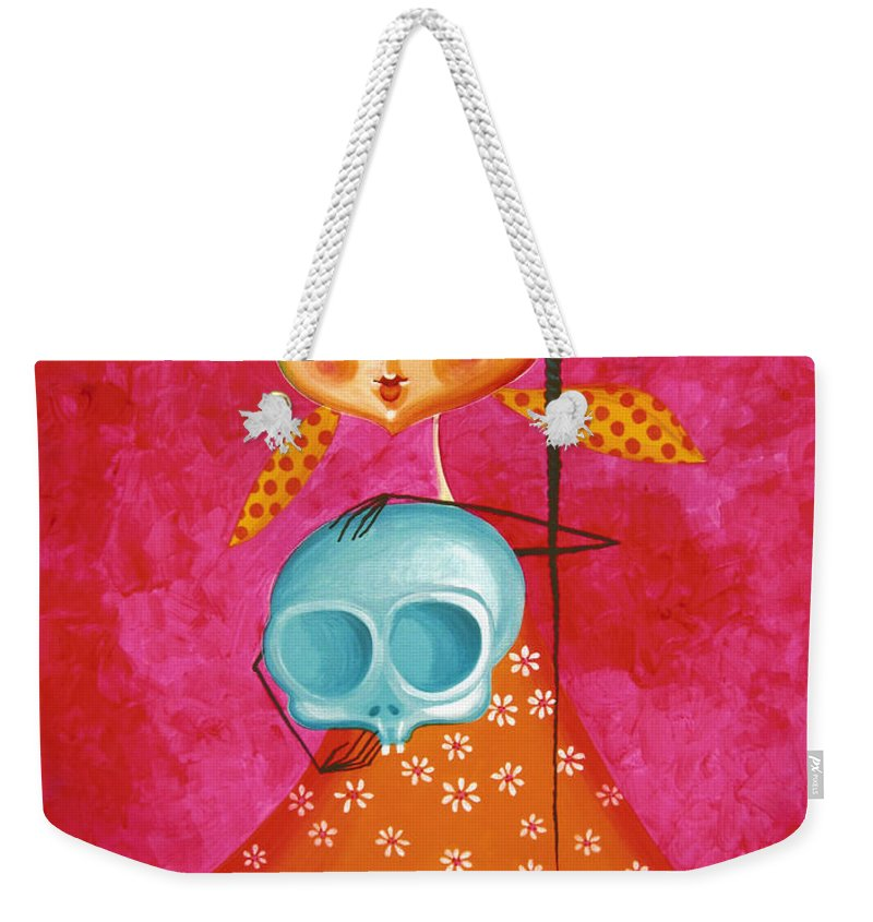 Little Girl With Toy Skull Acrylic Painting On Canvas Weekender Tote Bag