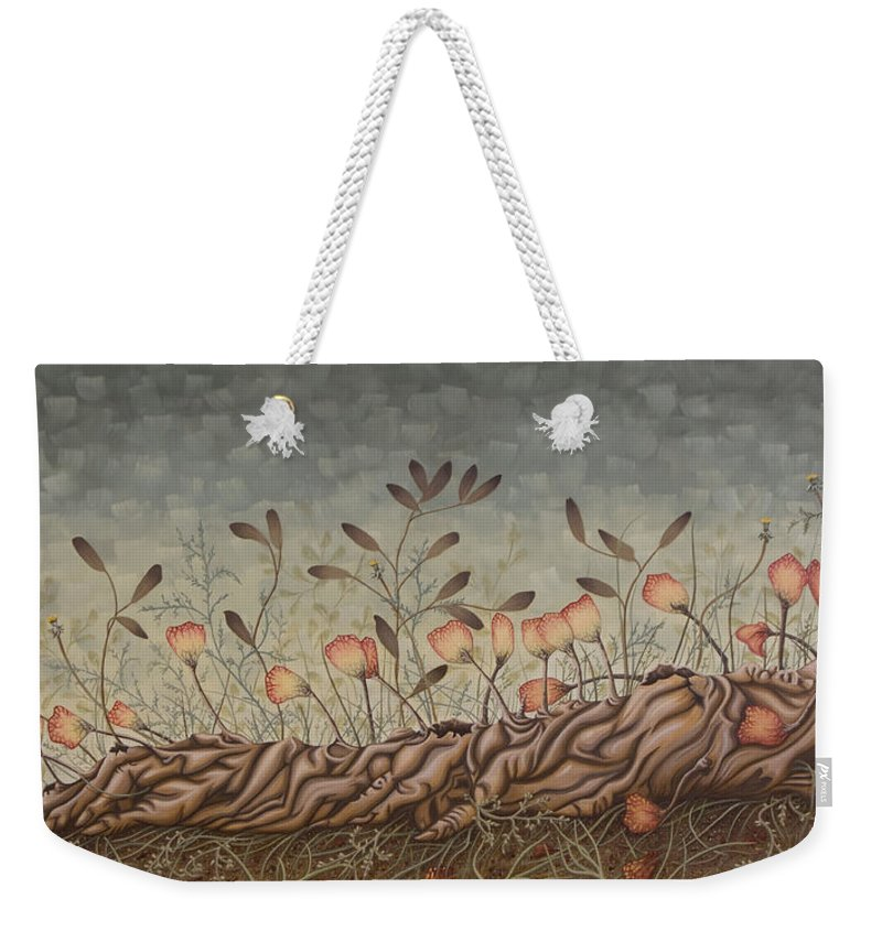 Sex Weekender Tote Bag featuring the painting Little Gods by Judy Henninger
