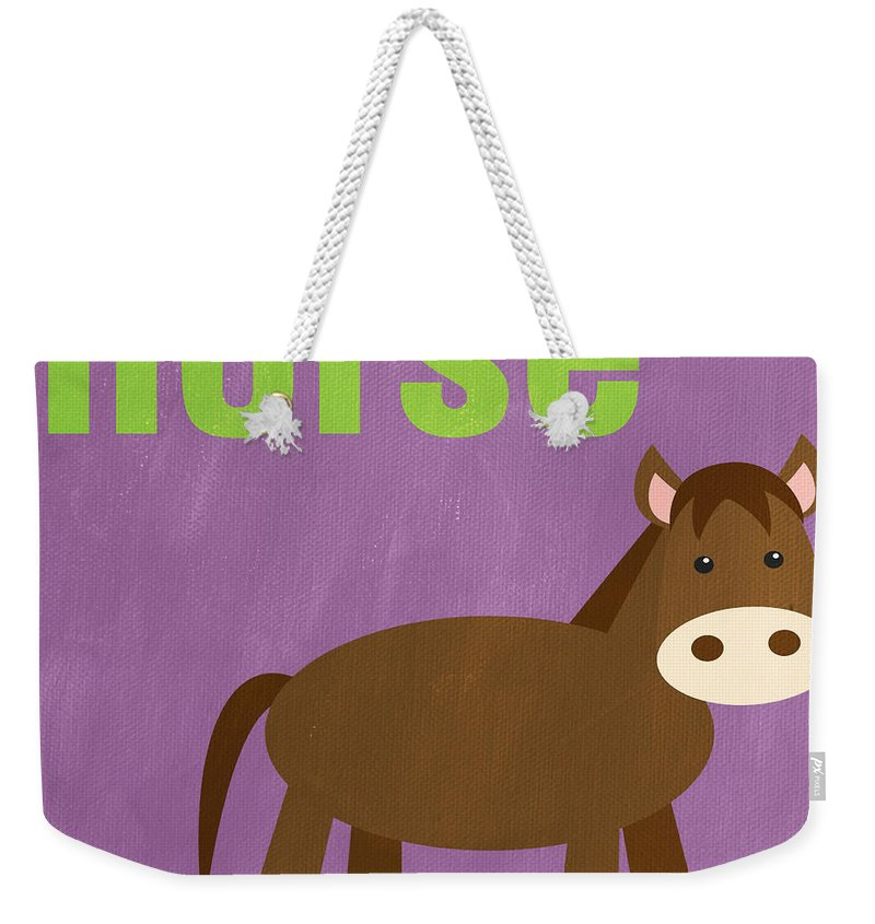 Horse Weekender Tote Bag featuring the painting Little Horse by Linda Woods