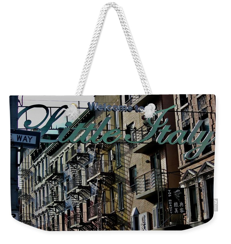 Little Italy New York Weekender Tote Bag featuring the photograph Little Italy In New York by Lorna Maza