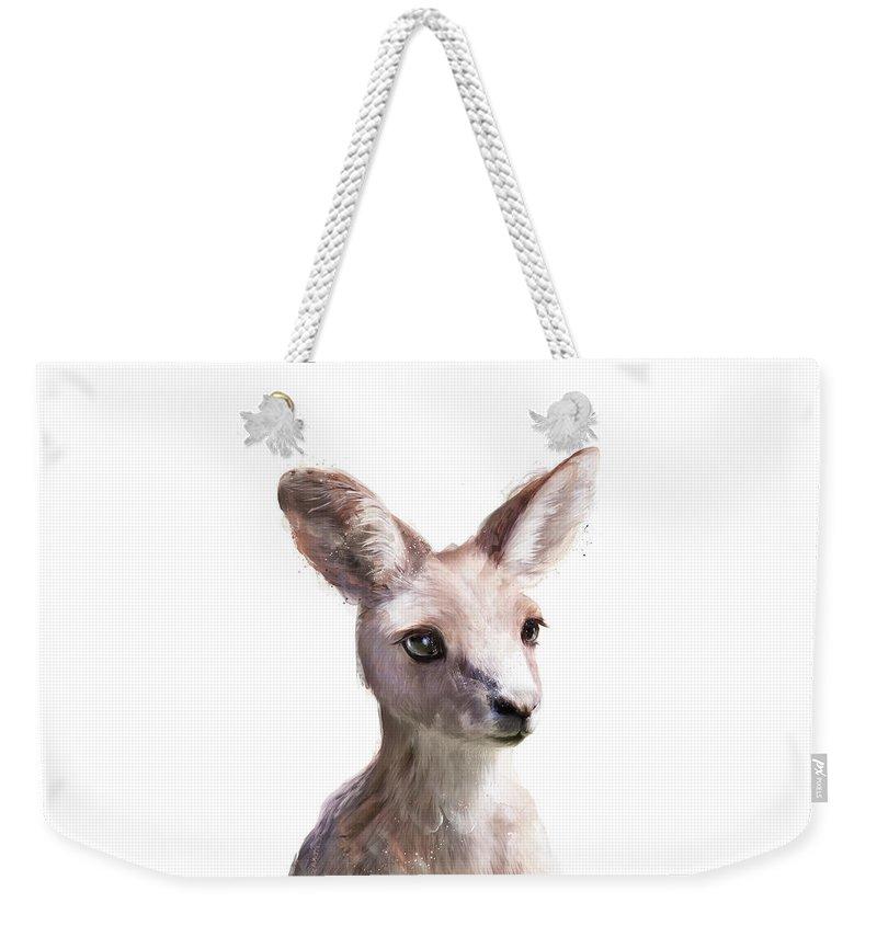 Kangaroo Weekender Tote Bag featuring the painting Little Kangaroo by Amy Hamilton