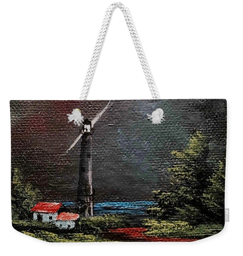 Lighthouse Weekender Tote Bag featuring the painting Little Light by Glen Mcclements