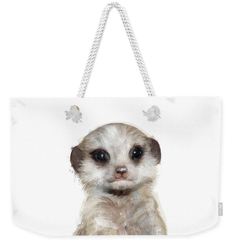 Meerkat Weekender Tote Bag featuring the painting Little Meerkat by Amy Hamilton
