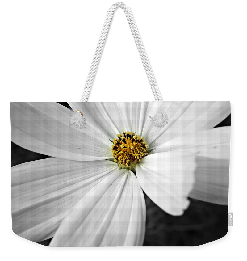 Black And White Weekender Tote Bag featuring the photograph Little Miss Yellow by Becki Kremer