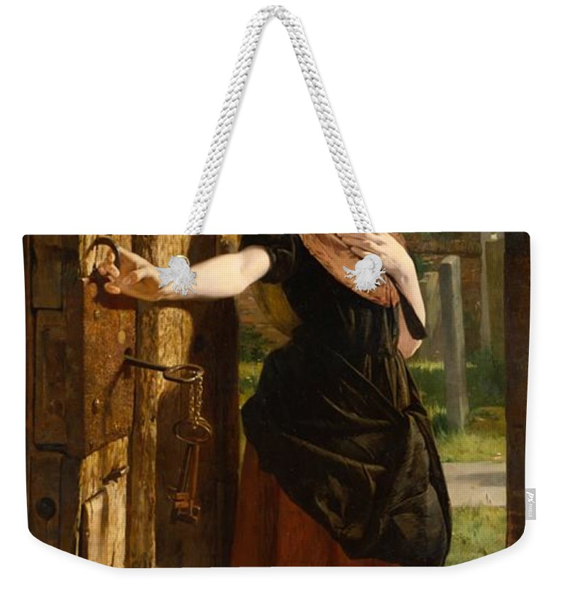 Little Weekender Tote Bag featuring the painting Little Nell Leaving The Church by James Lobley