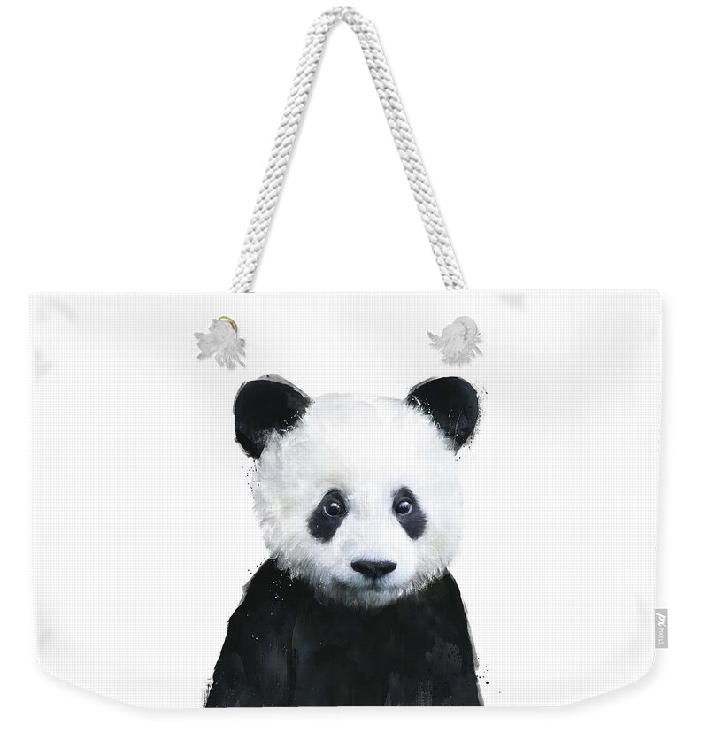 Panda Weekender Tote Bag featuring the painting Little Panda by Amy Hamilton