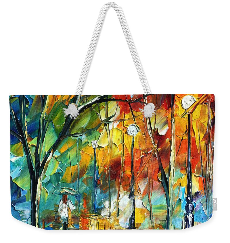 Afremov Weekender Tote Bag featuring the painting Little Park by Leonid Afremov