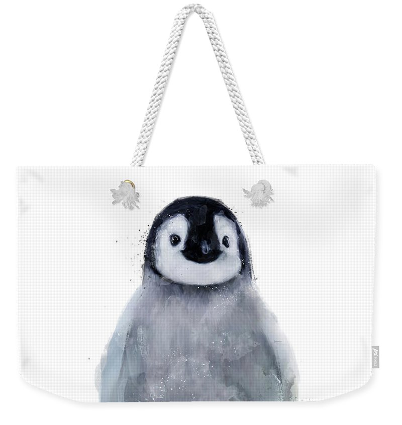 Penguin Weekender Tote Bag featuring the mixed media Little Penguin by Amy Hamilton