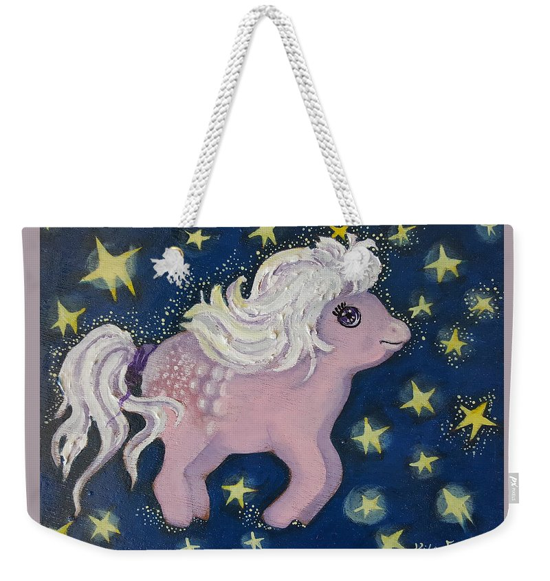 Wood Weekender Tote Bag featuring the painting Little Pink Horse by Rita Fetisov