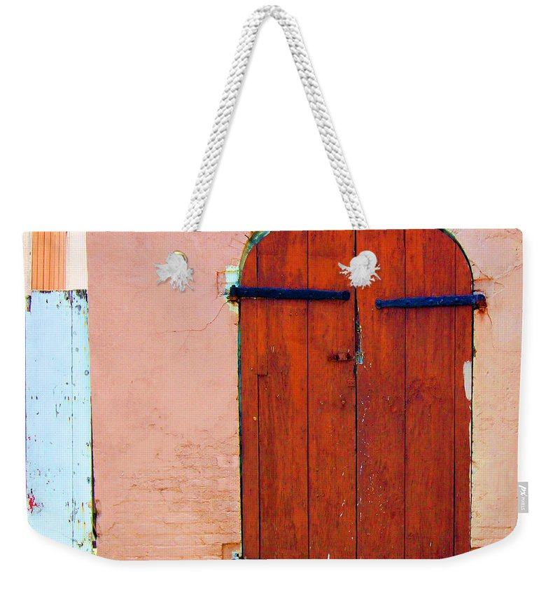Door Weekender Tote Bag featuring the photograph Little Pink House by Debbi Granruth