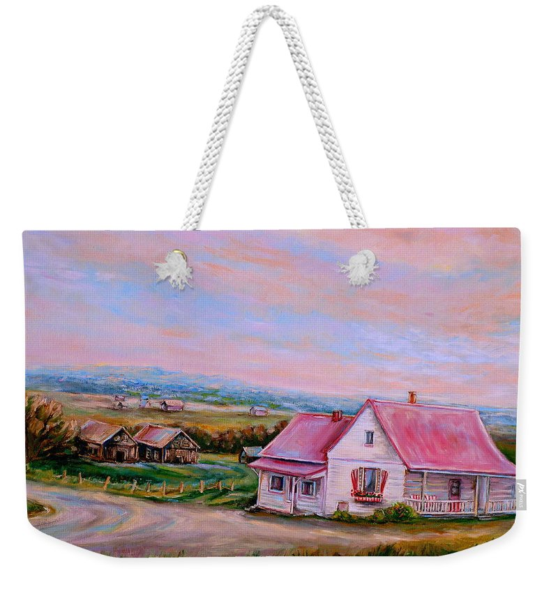 Little Pink Houses Weekender Tote Bag featuring the painting Little Pink Houses by Carole Spandau