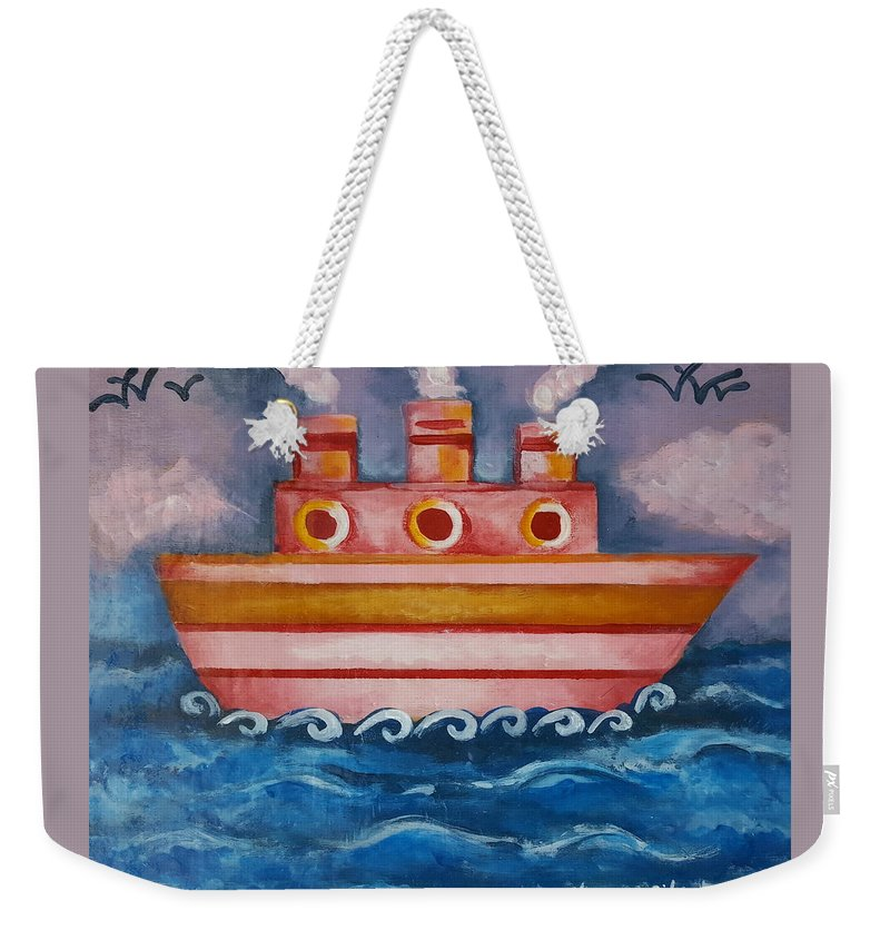 Ship Weekender Tote Bag featuring the painting Little Pink Ship by Rita Fetisov