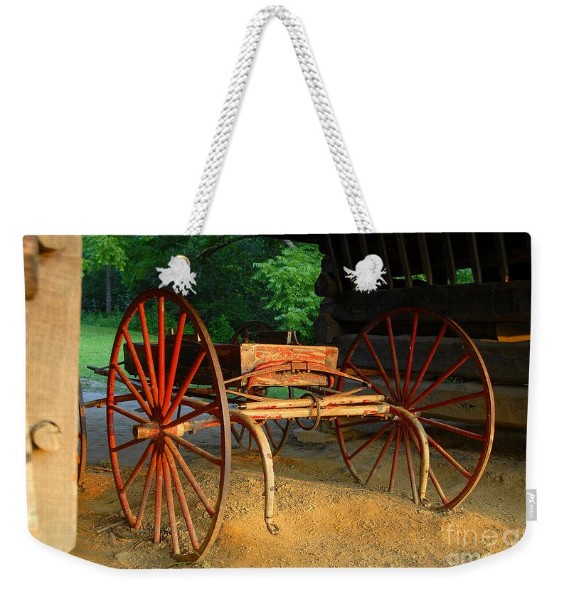 Red Weekender Tote Bag featuring the photograph Little Red Buggy by David Lee Thompson
