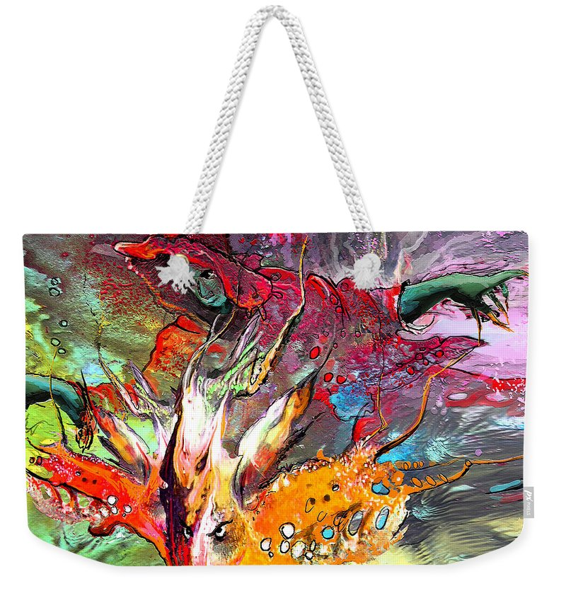 Miki Weekender Tote Bag featuring the painting Little Red Dragonmaker by Miki De Goodaboom