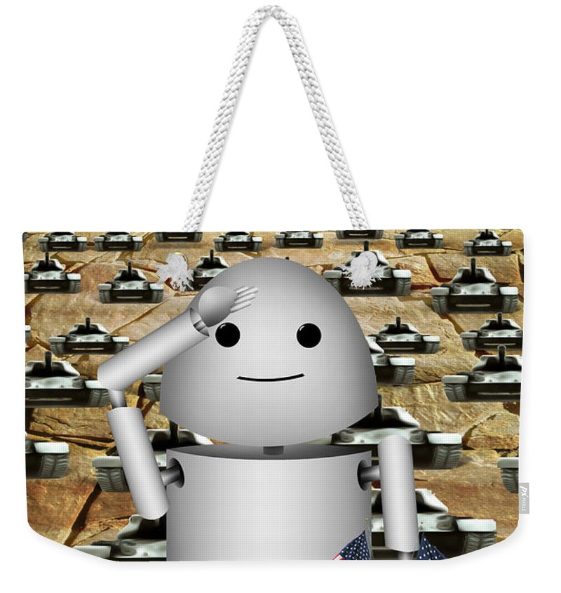 Memorial Day Weekender Tote Bag featuring the digital art Little Robo-x9 Says Tanks Alot by Gravityx9 Designs