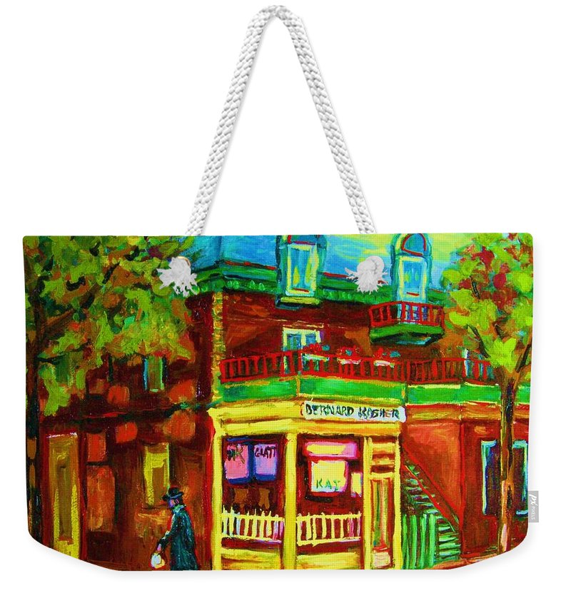 Montreal Streetscenes Weekender Tote Bag featuring the painting Little Shop On The Corner by Carole Spandau