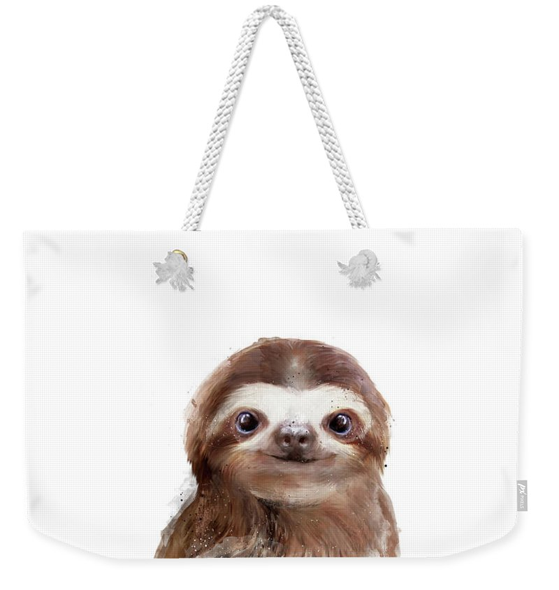 Sloth Weekender Tote Bag featuring the painting Little Sloth by Amy Hamilton