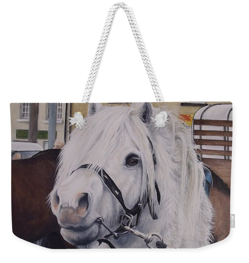 Portrait Weekender Tote Bag featuring the painting Little Stallion-glin Fair by Pauline Sharp
