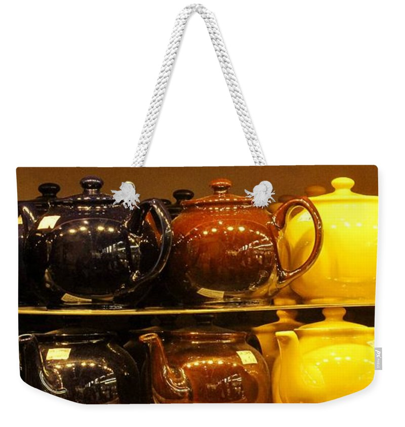 Teapots Weekender Tote Bag featuring the photograph Little Teapots by Ian MacDonald
