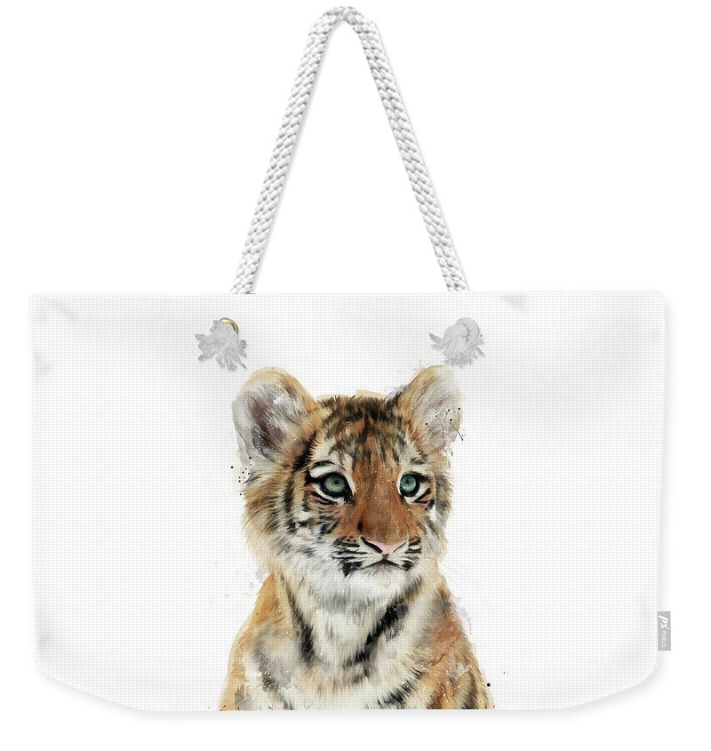 Tiger Weekender Tote Bag featuring the painting Little Tiger by Amy Hamilton