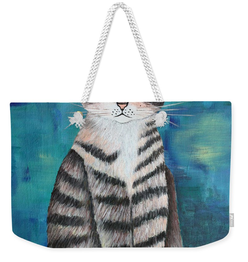 Acrylic Weekender Tote Bag featuring the painting Little Tiger by Jutta Maria Pusl