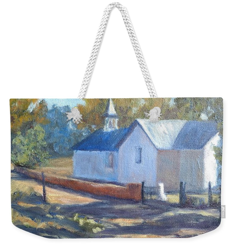 Church Weekender Tote Bag featuring the painting Little White Church In New Mexico by Candi Hogan