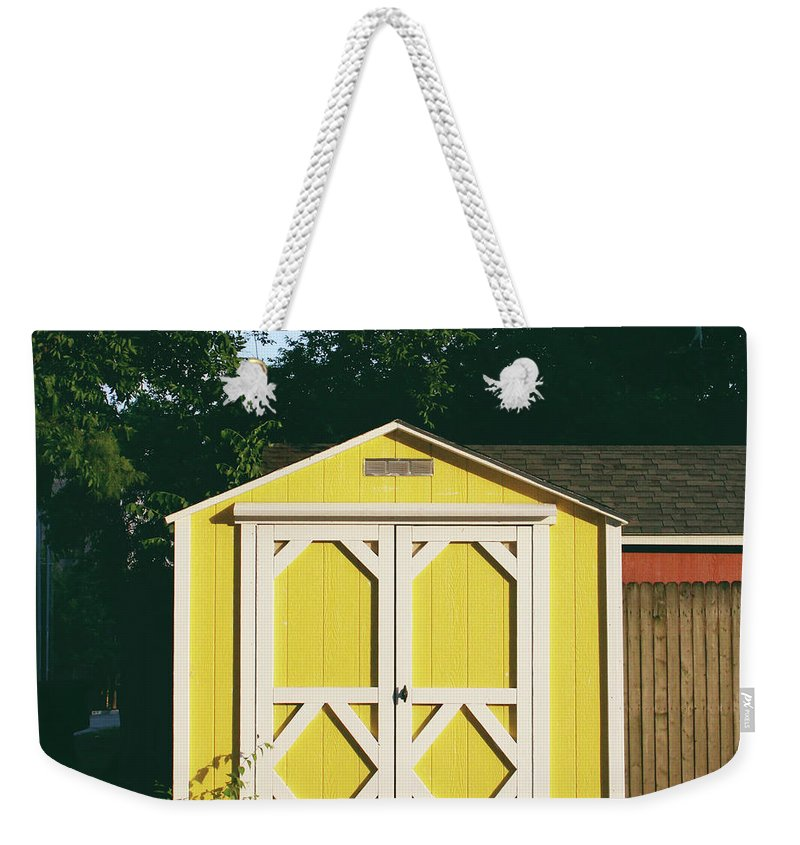 Barn Weekender Tote Bag featuring the photograph Little Yellow Barn- By Linda Woods by Linda Woods