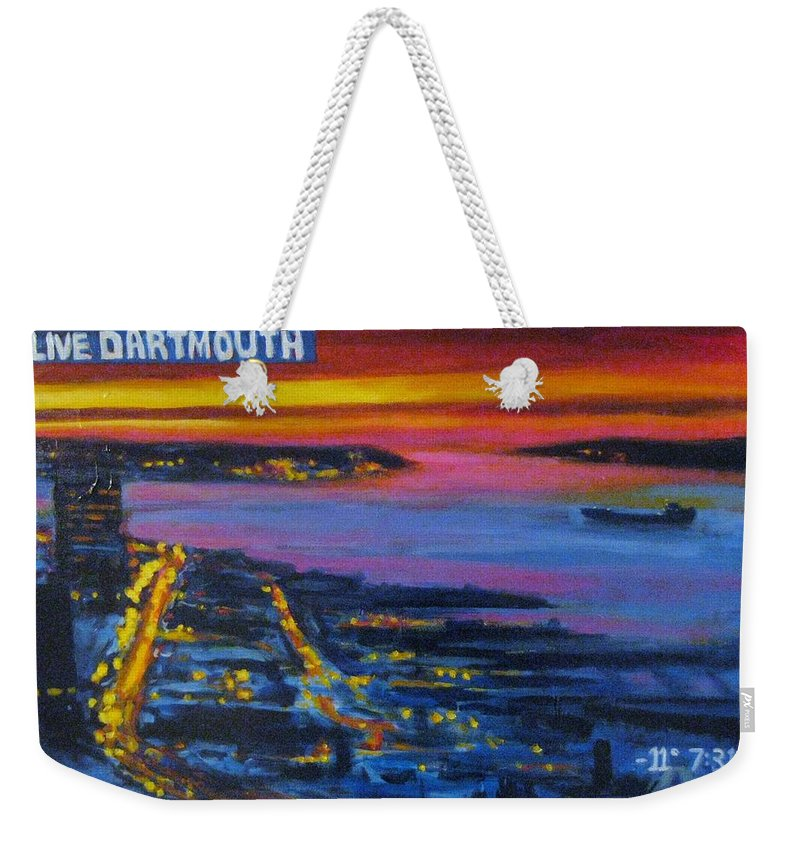 Night Scenes Weekender Tote Bag featuring the painting Live Eye Over Dartmouth Ns by John Malone