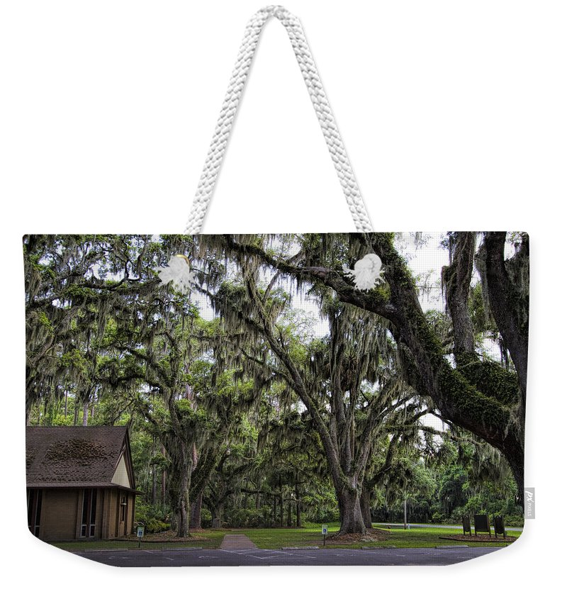 Live Oaks Weekender Tote Bag featuring the photograph Live Oak And Spanis Moss Landscape by Kathy Clark