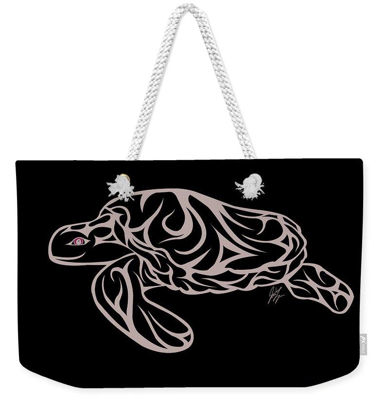 Turtle Weekender Tote Bag featuring the digital art Live Waters by Jamie Lynn