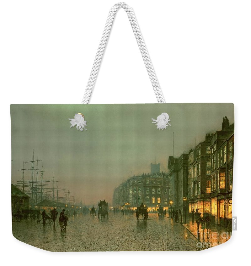 Liverpool Docks From Wapping Weekender Tote Bag featuring the painting Liverpool Docks From Wapping by John Atkinson Grimshaw