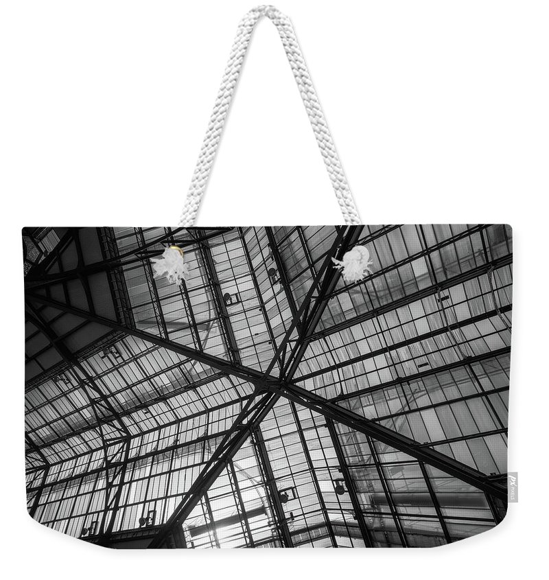 Liverpool Street Station Weekender Tote Bag featuring the photograph Liverpool Street Station Glass Ceiling Abstract by John Williams