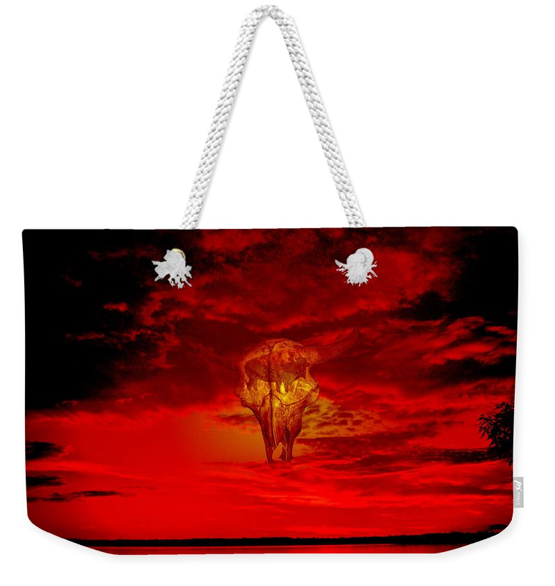 Skull Sky Red Dawn Buffalo Clouds Cloudy Nature Bison Water Skyline Waterscape Weekender Tote Bag featuring the photograph Living Sky by Andrea Lawrence