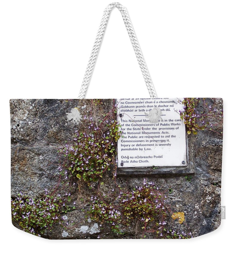 Irish Weekender Tote Bag featuring the photograph Living Wall At Donegal Castle Ireland by Teresa Mucha