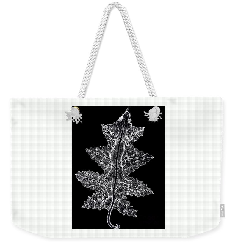 Lizard Art Weekender Tote Bag featuring the drawing Lizard And Leaf by Nick Gustafson