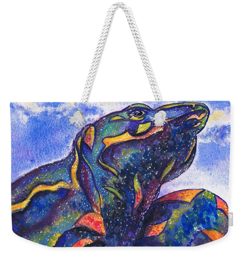 Tamara Kulish Weekender Tote Bag featuring the painting Lizard In The Desert 2 by Tamara Kulish