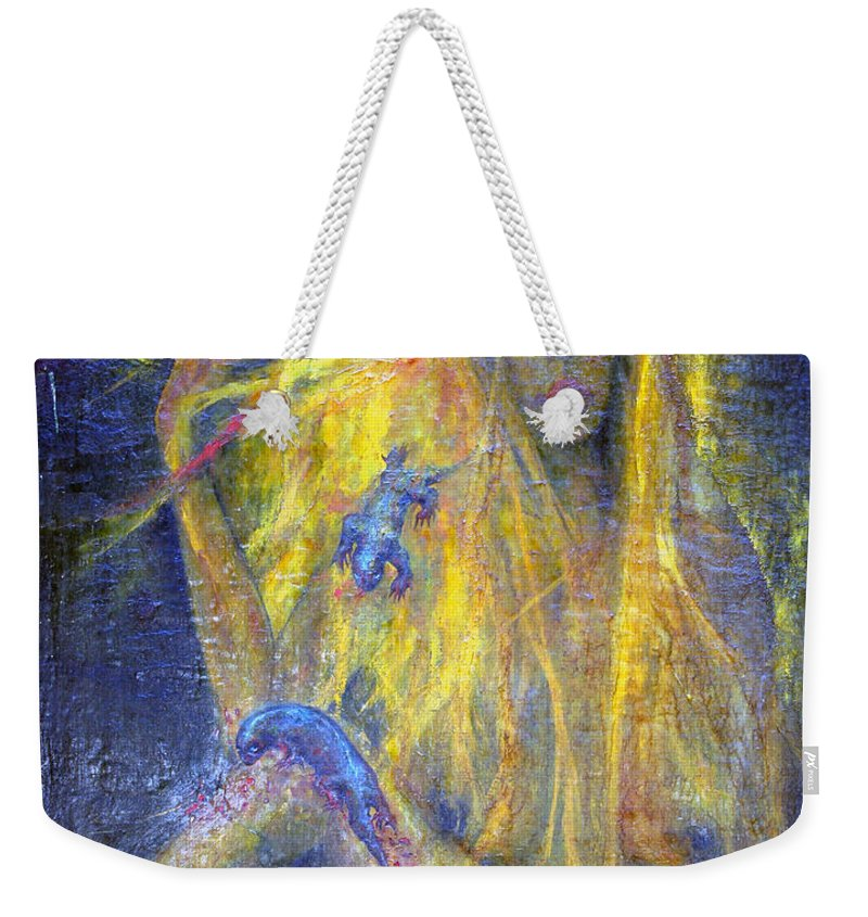 Imagination Weekender Tote Bag featuring the painting Lizard by Wojtek Kowalski