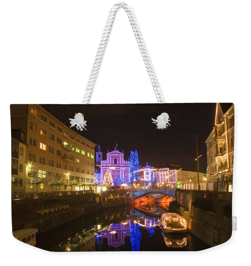 Christmas Weekender Tote Bag featuring the photograph Ljubljana At Christmas by Ian Middleton