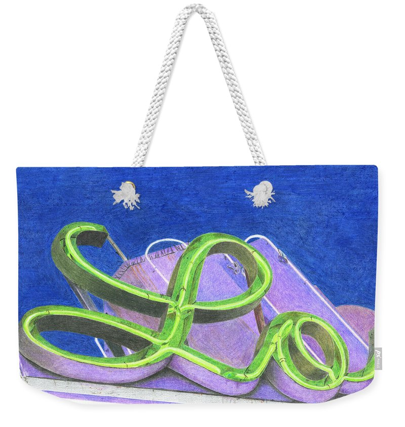 Neon Sign Weekender Tote Bag featuring the drawing Lo by Rob De Vries
