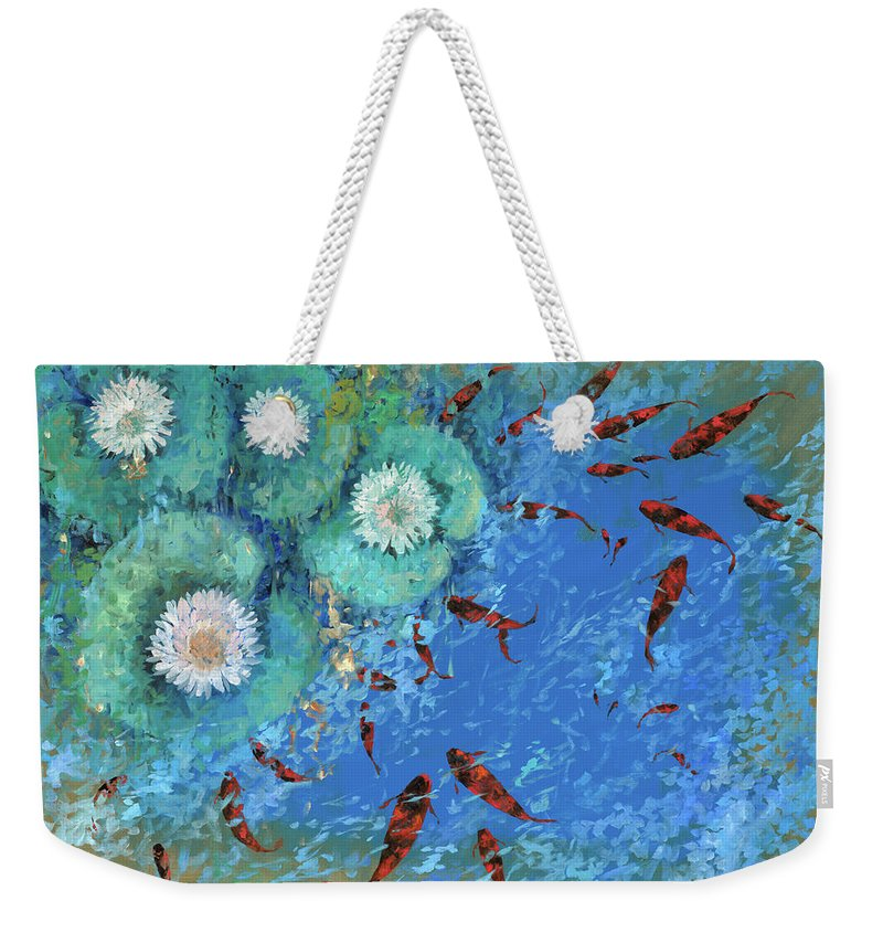 Fishscape Weekender Tote Bag featuring the painting Lo Stagno by Guido Borelli