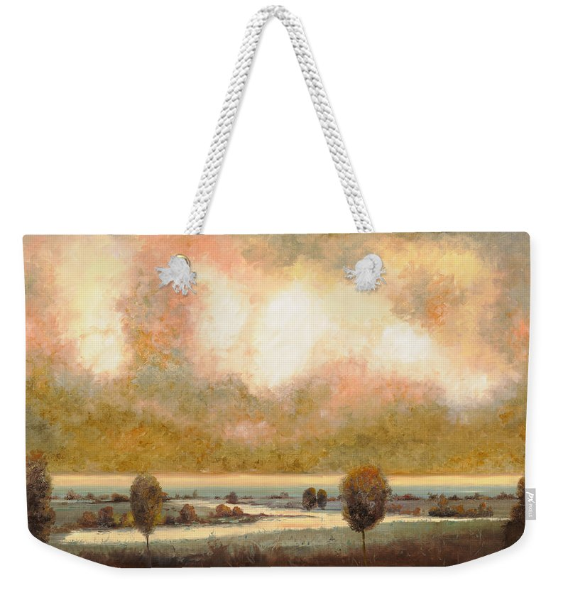 Pond Weekender Tote Bag featuring the painting Lo Stagno Sotto Al Cielo by Guido Borelli