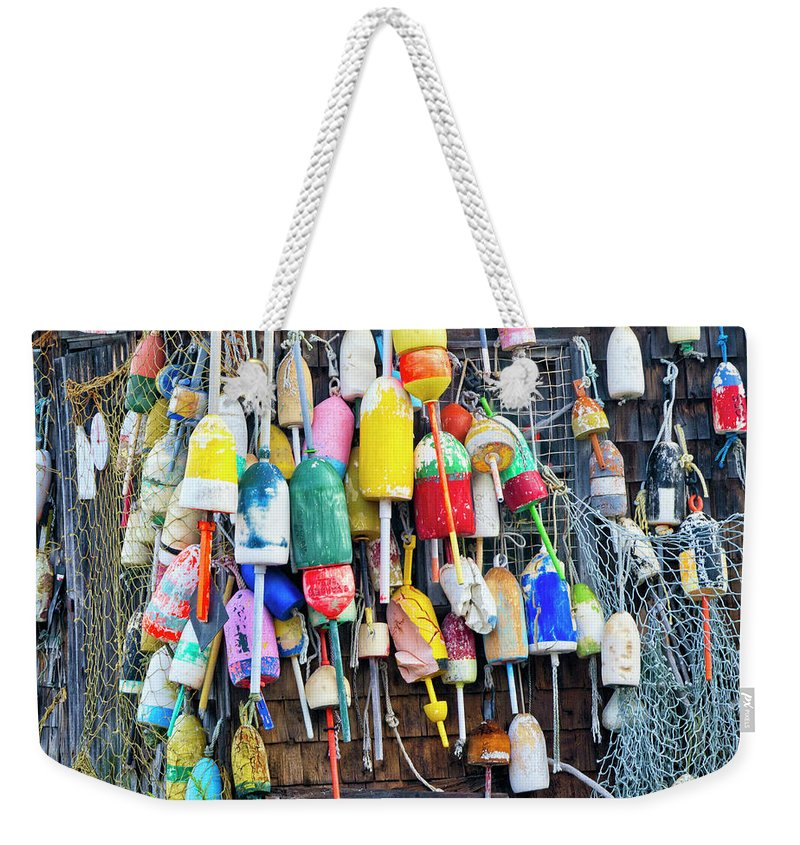 Cape Neddick Weekender Tote Bag featuring the photograph Lobster Buoys And Nets - Maine by Steven Ralser