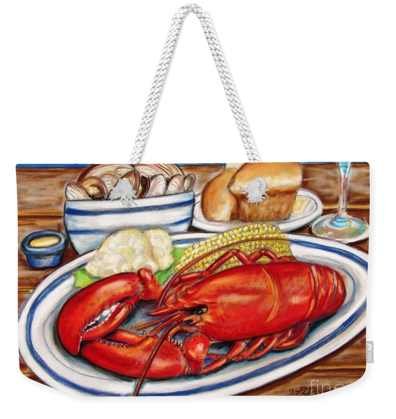 Kitchen Weekender Tote Bag featuring the pastel Lobster Dinner by Patricia L Davidson