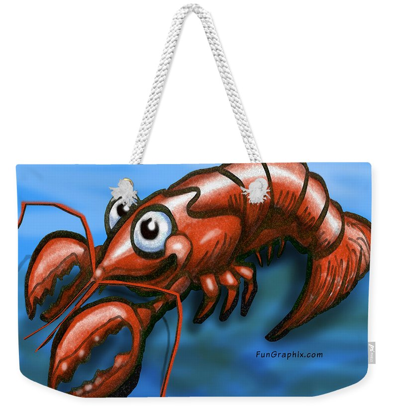 Lobster Weekender Tote Bag featuring the greeting card Lobster by Kevin Middleton