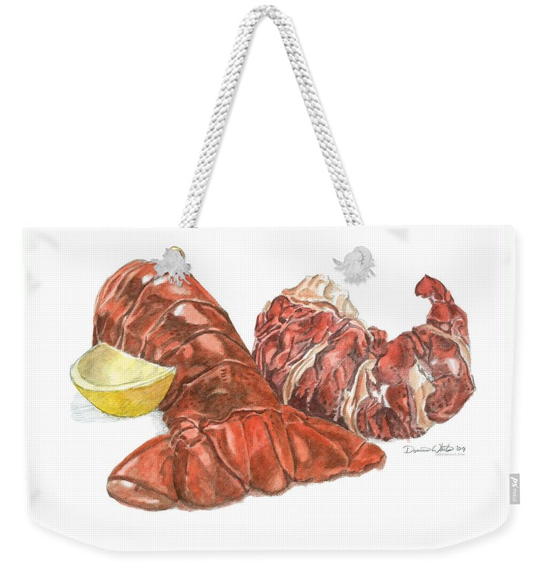 Lobster Weekender Tote Bag featuring the painting Lobster Tail And Meat by Dominic White