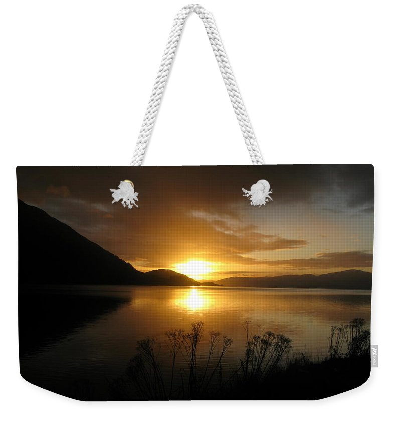 Highlands Weekender Tote Bag featuring the photograph Loch Awe by Maria Joy